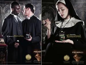 Dans cette publicité subversive, la marque «Antonio Federici» a choisi de se différencier sur le marché en jouant sur le blasphème