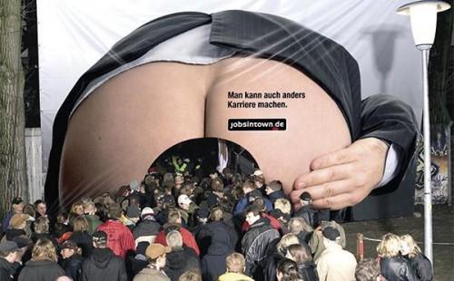 Publicité du site allemand «Jobsintown.de» lors d'un salon étudiant